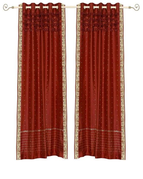 Rust Hand Crafted Grommet Top Sheer Sari Curtain Panel -Piece