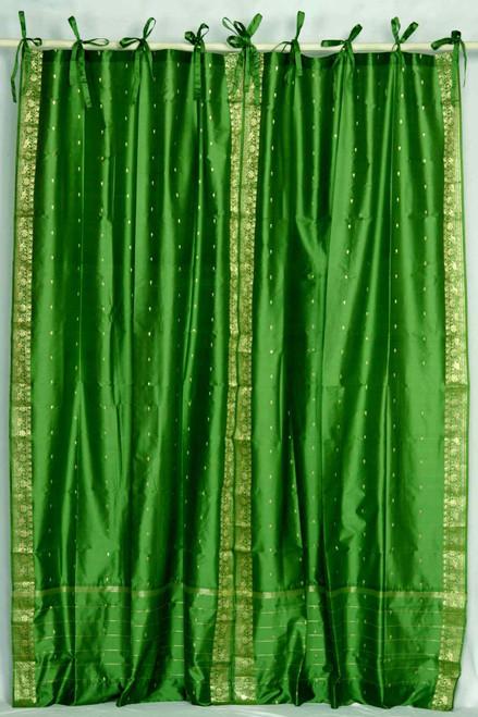 Forest Green  Tie Top  Sheer Sari Curtain / Drape / Panel  - Pair