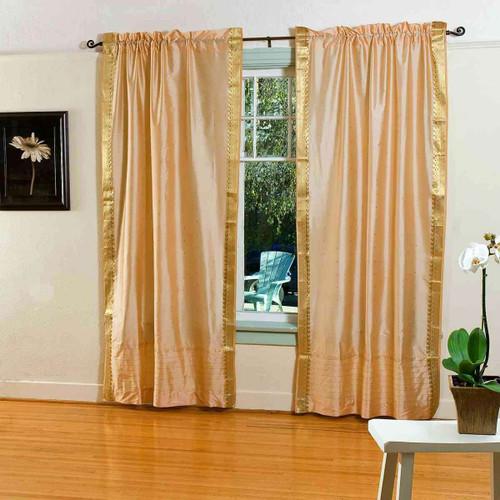 Gold  Rod Pocket  Sheer Sari Curtain / Drape / Panel  - Pair