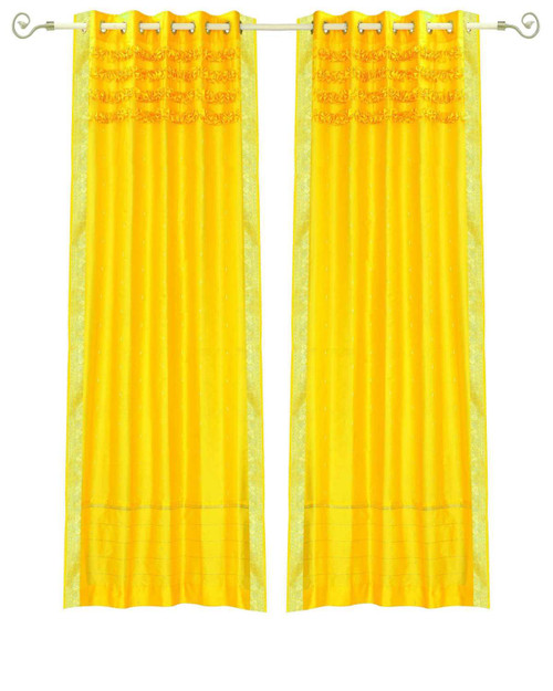 Yellow Hand Crafted Grommet Top Sheer Sari Curtain Panel -Piece