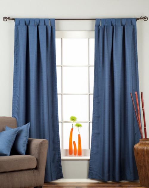 Blue Tab Top Matka Raw Silk Curtain / Drape / Panel - Piece