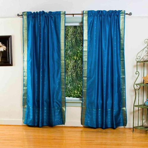Turquoise 84-inch Rod Pocket Sheer Sari Curtain Panel (India)-Pair
