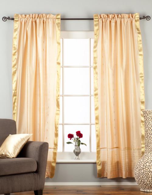 Misty Rose  Rod Pocket  Sheer Sari Curtain / Drape / Panel  - Pair