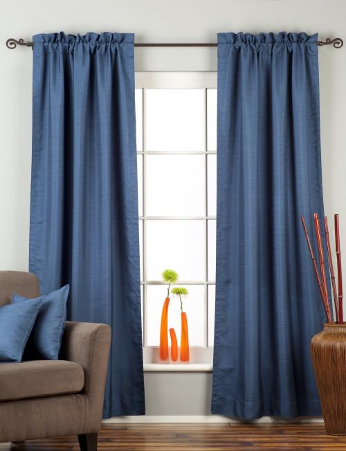 Blue Rod Pocket Matka Raw Silk Curtain / Drape / Panel - Piece