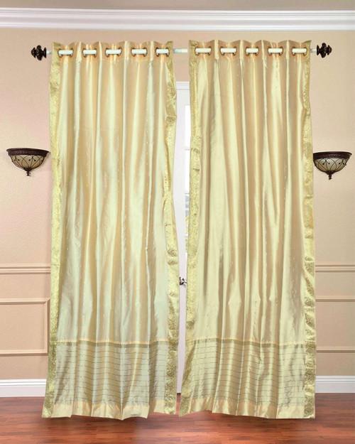 Cream Ring Top  Sheer Sari Curtain / Drape / Panel  - Piece