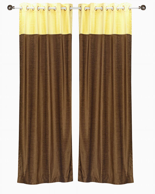 Signature Brown and Yellow ring top velvet Curtain Panel - Piece