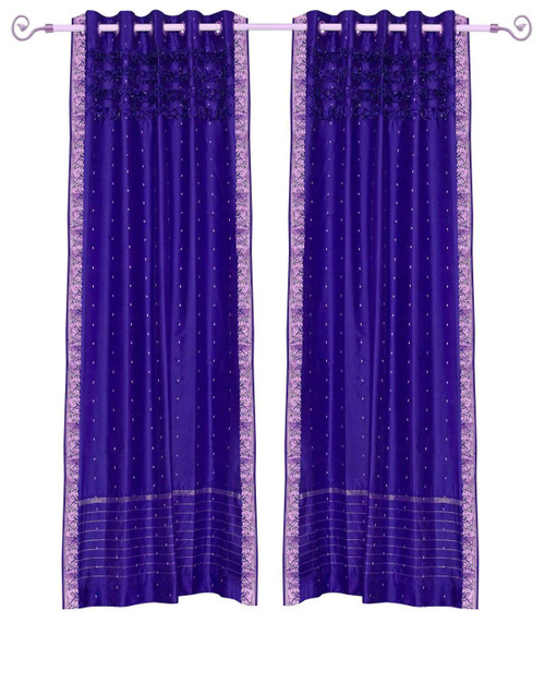 Purple Hand Crafted Grommet Top Sheer Sari Curtain Panel -Piece