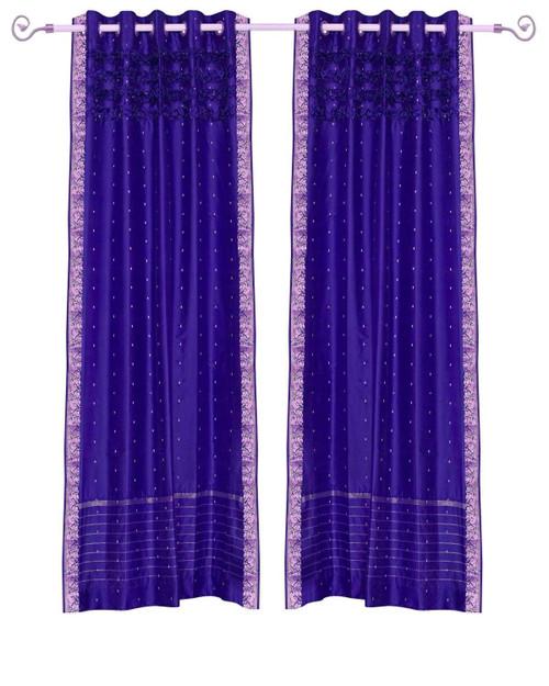 Purple Hand Crafted Grommet Top Sheer Sari Curtain Panel -Piece