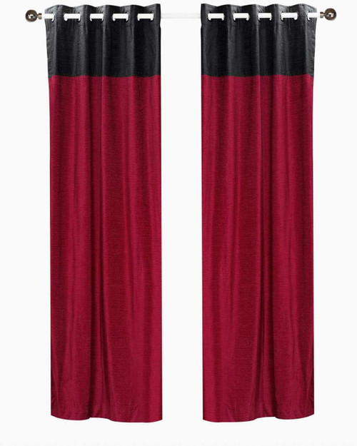 Signature Burgundy and Black ring top velvet Curtain Panel - Piece
