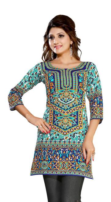 Turquoise 3/4 sleeve Indian Printed  Kurti Tunic Women Kurta
