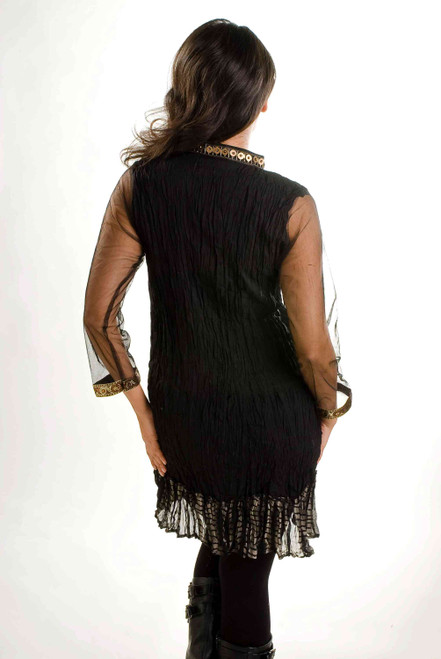 Black Crepe Crushed Kurti Tunic with Golden Neckline (India) - Large