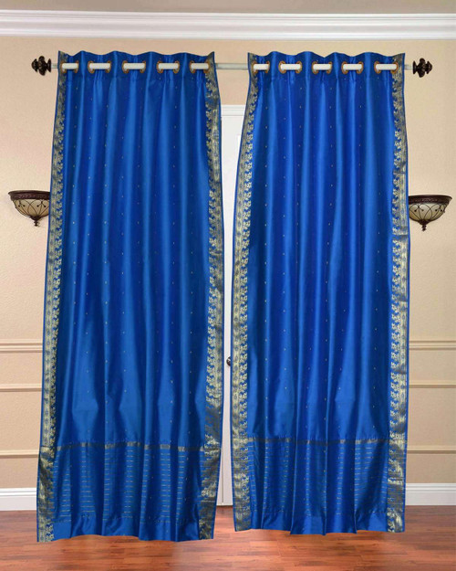 Blue Ring Top  Sheer Sari Curtain / Drape / Panel  - Piece