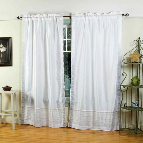White Silver  Rod Pocket  Sheer Sari Curtain / Drape / Panel  - Piece