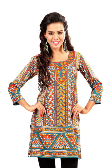 Brown 3/4 sleeve Indian Printed  Kurti Tunic Women Kurta