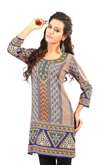 Blue 3/4 sleeve Indian Printed  Kurti Tunic Women Kurta