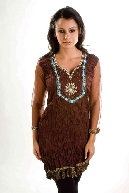 Brown crepe Crushed Kurti Tunic with Golden Neckline (India) - Large