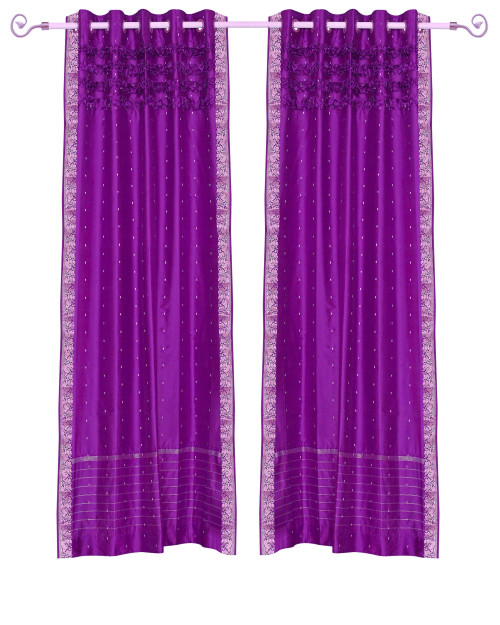 Violet Red Hand Crafted Grommet Top Sheer Sari Curtain Panel -Piece