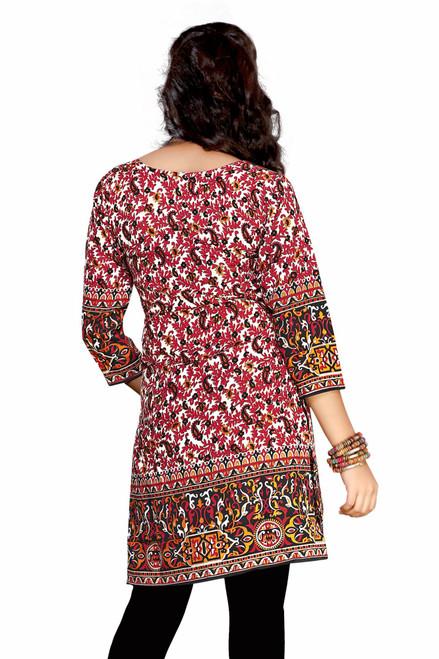 Red 3/4 sleeve Indian Printed  Kurti Tunic Women Kurta