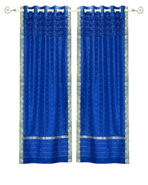 Enchanting Blue Hand Crafted Grommet Top Sheer Sari Curtain Panel -Piece
