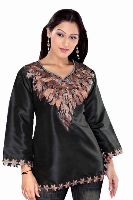 Black long sleeves Art silk Kurti/Tunic/Caftan with embroidered neckline