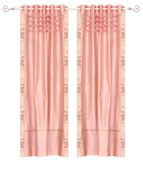 Peach Pink Hand Crafted Grommet Top Sheer Sari Curtain Panel -Piece