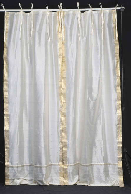 Cream  Tie Top  Sheer Sari Curtain / Drape / Panel  - Pair