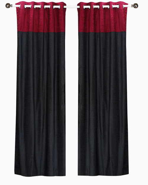 Signature Black and Burgundy ring top velvet Curtain Panel - Piece