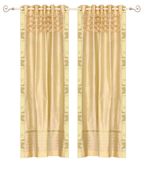 Golden Hand Crafted Grommet Top Sheer Sari Curtain Panel -Piece