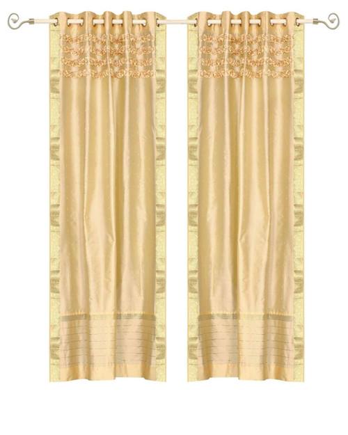 Golden Hand Crafted Grommet Top Sheer Sari Curtain Panel -Piece