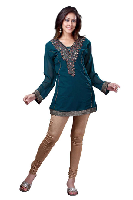 Rama Green Georgette Kurti/Tunic with designer embroidery