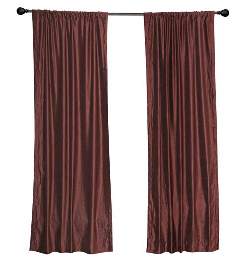 Luxury  Wine Velvet Rod Pocket Curtain Panels Drapes with matching tieback