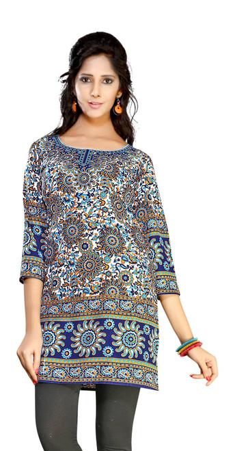 Dark Blue 3/4 sleeve Indian Printed  Kurti Tunic Women Kurta