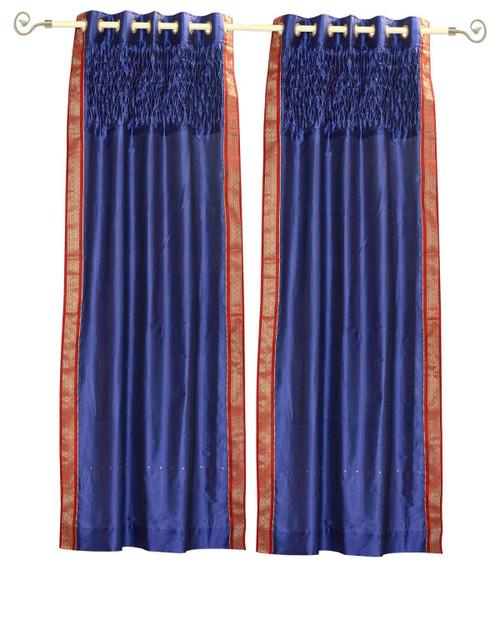 Blue Grommet Top Sheer Sari Curtain Panel with beaded hand design -Piece