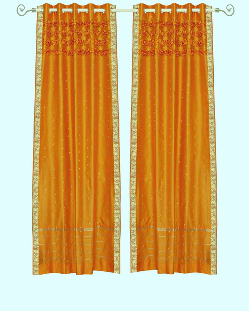 Mustard Hand Crafted Grommet Top Sheer Sari Curtain Panel -Piece