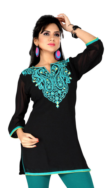 Black georgette kurti / Tunic with  green embroidery