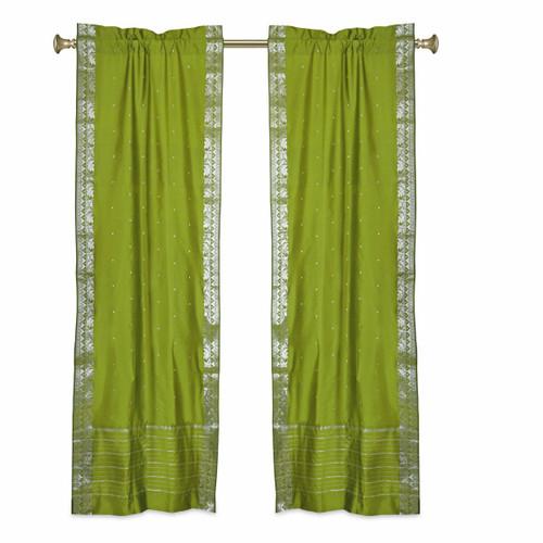 Olive Green Rod Pocket  Sheer Sari Curtains w/ Silver Border-Pair