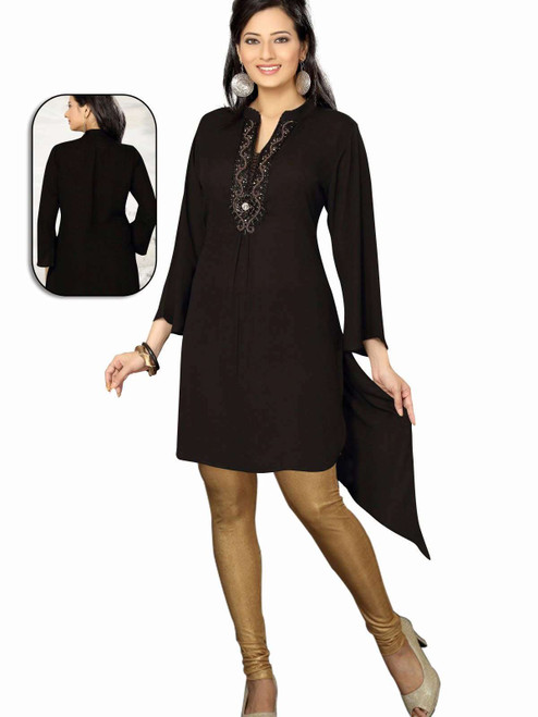 Black 3/4 Sleeves designer  Kurti / Tunic (India) with beaded neckline