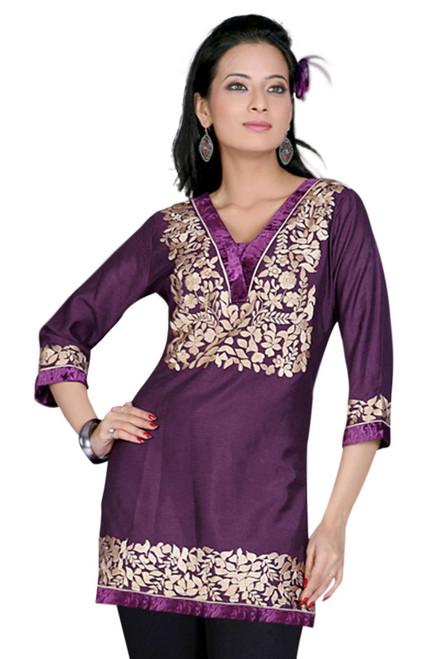 Purple 3/4 sleeves Kurti/Tunic with designer embroidery