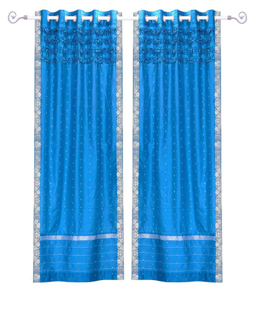 Island Blue Hand Crafted Grommet Top Sheer Sari Curtain Panel -Piece