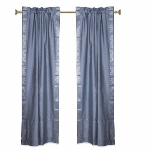 Gray Rod Pocket  Sheer Sari Curtains w/ Silver Border-Pair
