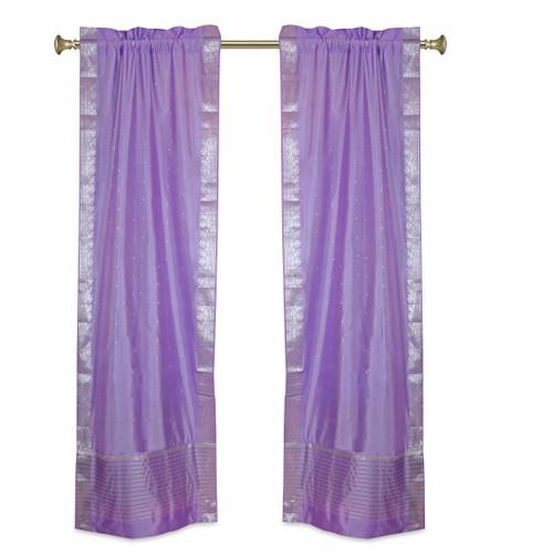 Lavender Rod Pocket  Sheer Sari Curtains w/ Silver Border-Pair