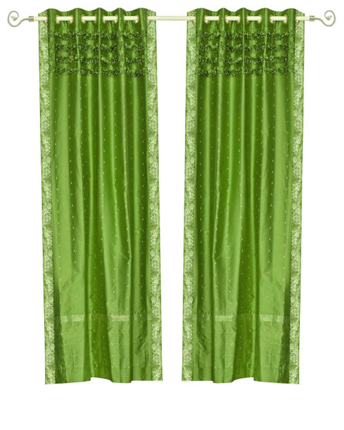 Forest Green Hand Crafted Grommet Top Sheer Sari Curtain Panel -Piece