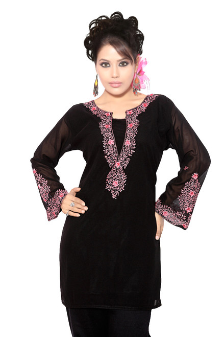 Black long sleeves Kurti/Tunic with designer embroidery