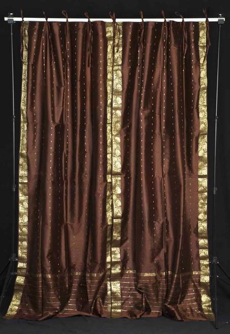 Brown  Tie Top  Sheer Sari Curtain / Drape / Panel  - Pair