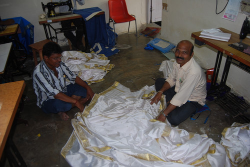 White with Golden Trim Ring Top  Sheer Sari Curtain / Drape / Panel  - Piece