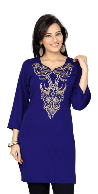 Navy Blue Crepe Kurti / Tunic with thread / Zari emroidery