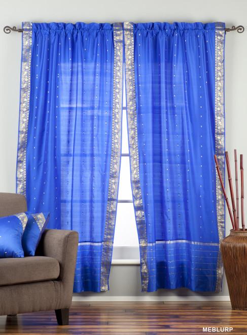 Enchanting Blue Rod Pocket  Sheer Sari Curtain / Drape / Panel  - Pair