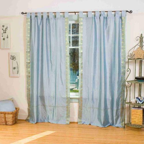 Gray  Tab Top  Sheer Sari Curtain / Drape / Panel  - Pair