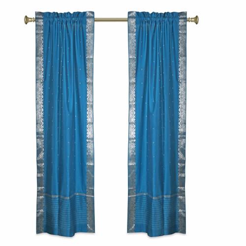 Turquoise Rod Pocket  Sheer Sari Curtains w/ Silver Border-Pair