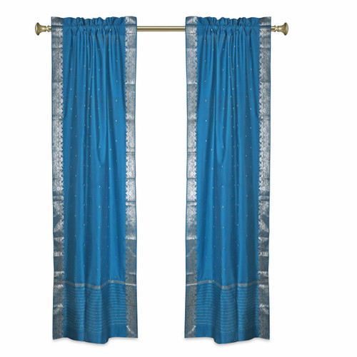 Turquoise Rod Pocket  Sheer Sari Curtains w/ Silver Border-Pair